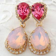pink opal and rose pink chandelier earrings pink bridal earring
