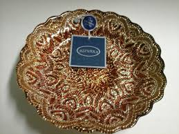 azzurra gold and silver decorative glass bowl