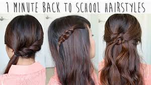 5 Minute Hairstyles For Girls 1 Minute Back To School Hairstyles For Medium Long Hair Tutorial