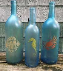 Beach themed, glitter painted wine bottle decoration, set of 3 by  WineBottlePieces on Etsy