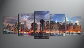 5 piece canvas wall art home decor panoramic group canvas purple artwork  on canvas wall art new york city with 5 piece cityscape canvas wall art new york city huge pictures blue