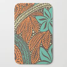 Blue Orange Retro Colored Polynesian Hawaiian Floral Tattoo Design Bath Mat