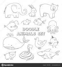 かわいいベクトルの漫画は落書きの動物です手描きイラスト ストック