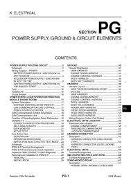 2004 nissan murano power supply ground circuit elements 2004 nissan murano power supply ground circuit elements section pg 70 pages
