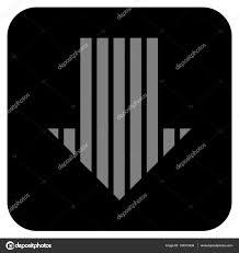 Arrow Of Light Stripe Colors Stripe Arrow Down Flat Squared Vector Icon Stock Vector