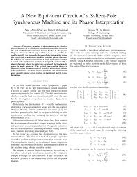 pdf a new equivalent circuit of a salient pole synchronous machine and its phasor interpretation