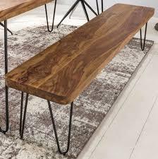 Wohnling Design Massivholz Sheesham Sitzbank Bagli Esszimmerbank 120 X 40 X 45 Cm Neu
