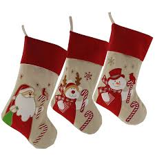 Wewill Lovely Christmas Stockings Set of 3 Santa, Reindeer, Snowman Xmas  Character 3D Plush