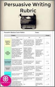 Persuasive Essay Rubric 2 Persuasive Writing Rubric For Essays Or Letters English Teaching