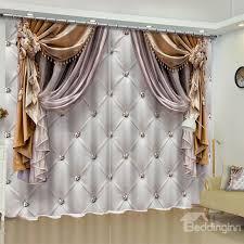 51 3d imitated elegant shading cloth printed custom curtain for living room