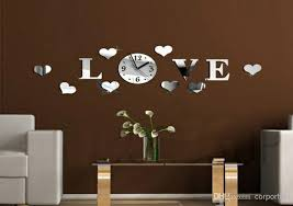 3d mirror wall clock home decoration diy crystal mirror love heart