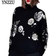 <b>YNZZ New Winter</b> Sequins Turtleneck Warm Women's Sweater ...