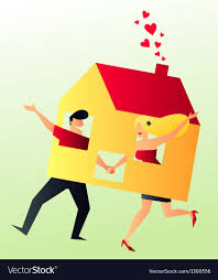 New Home Cartoon Images Cohabit Young Couple Sharing Their New Home