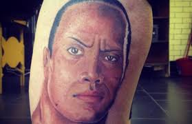 Someone Got A Giant Portrait Of The Rock Tattooed On Their Leg Complex