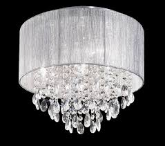 franklite royale 4 light flush ceiling light chrome finish with crystal glass drops surrounded by a textured fabric shade fl2281 4