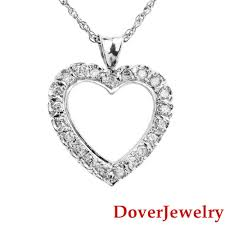 details about estate diamond 18k 14k white gold heart pendant chain necklace 6 0 grams nr