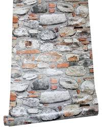 l stick stacked rock stone wallpaper orange tan grey self adhesive and wall tiles