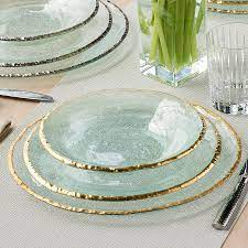Gold Rim Glass Chargers   Edgey by Annieglass