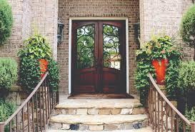 Wonderful Home Exterior Design Featuring Fiberglass Door With - Iron exterior door