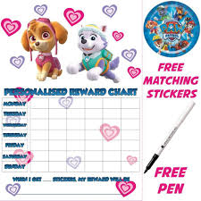 Potty Training Charts For Girls Reusable Potty Training Reward Chart Paw Patrol Skye Stickers Pen