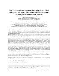 Pdf The Thai Anesthesia Incident Monitoring Study Thai