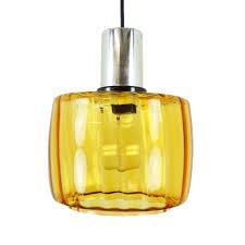 vintage amber yellow glass pendant light 1970s