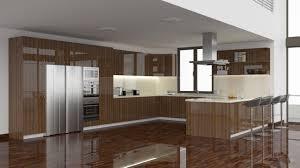 High Gloss Smoked Oak Wood Veneer Cabinet Doors