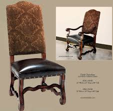 tuscan dining room chairs in dark chocolate upholstery with a dark aged leather seat nail