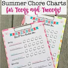 Chore Lists For Teens Summer Chore Chart For Teens And Tweens Free Printable