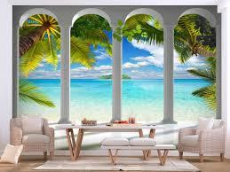 photo wallpaper sea behind columns