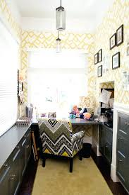 creative ideas home office. Creative Ideas Home Office Furniture Unique Yellow Geometric Wallpaper For With Tribal Printed Chair And Modern Desk