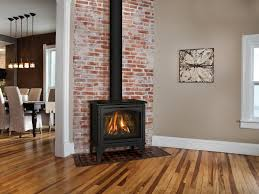 the birchwood free standing gas fireplace provides the detailing of a wood burning stove