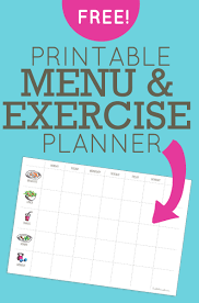 menu and workout planner free printable menu exercise planner
