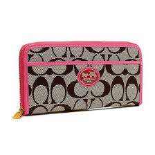 Coach Legacy Accordion Zip In Signature Large Pink Wallets EUW
