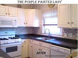 paint oak kitchen cabinets purple painted lady chalk paint painting wood kitchen cabinets white before and