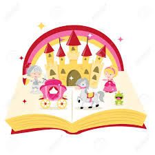 a cartoon ilration of fairy tale story book filled with castle knight princess and