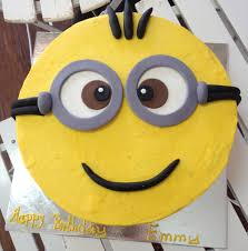 12 inch round red velvet Despicable Me minion cake.