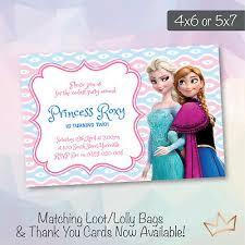 Frozen Birthday Invitations Personalised Disney Frozen Birthday Party Invitations Anna Elsa Invite