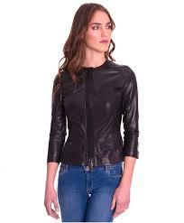 ambra black colour lamb leather short jacket with flaps