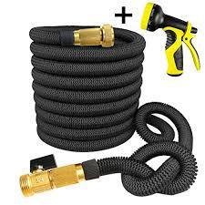 garden hose shut off valve. Daisy 50 Feet Black Strongest Expandable Garden Hose Lightweight With Shut Off Valve Solid Brass Connector Q