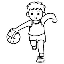 ドリブル2白黒バスケットボールの無料イラスト部活動クラブ活動