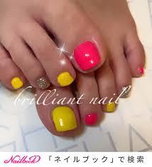 夏ピンク黄色のネイルデザインネイルブック