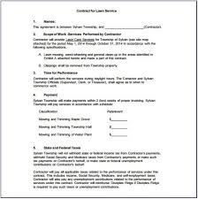 Simple Lawn Care Contract Template Template Resume