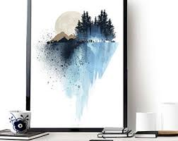 blue mountain wall art art prints watercolor poster wall art poster landscape print home wall decor apartment wall art nature print on home wall arts with art collectibles etsy nz