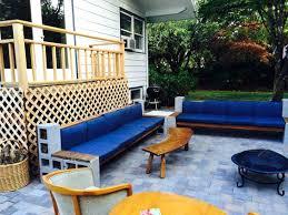 cinderblock furniture. Cinder Block Furniture 7 Cement Sectional Sofa With Wood Beams On Patio Painted Cinderblock