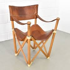 saddle leather folding chair italy 1950s