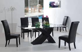 modern black dining room sets. 7pc modern dining room set wblack x shape legs amp glass top black chairs sets