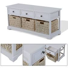 zoom wooden coffee table with seagrass wicker storage baskets