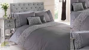 greysilver ruffled duvet quilt cover bed set bedding  sizes  ebay