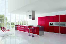 ... Trendy Red Kitchen Design With Glass Wall And White Floor Awesome Ideas  Baytownkitchen Excellent Modern Cabinets ...